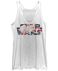 Star Wars Antique Flower Print Logo Tri-Blend Racer Back Tank