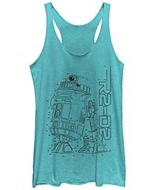 Star Wars R2-D2 Connect The Dots Line Art Z1 Tri-Blend Racer Back Tank