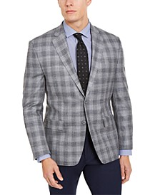 Men's Classic-Fit UltraFlex Stretch Light Gray Windowpane Silk & Wool Sport Coat