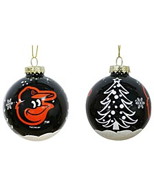"""Baltimore Orioles 3"""" Glitter Holiday Ball"""
