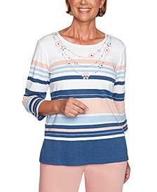 Petite Pearls Of Wisdom 2019 Striped Embellished Top