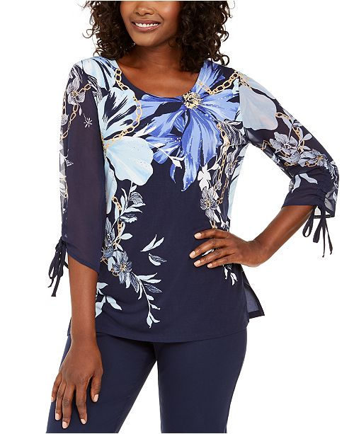 JM Collection Sheer-Sleeve Printed Top, Created for Macy's