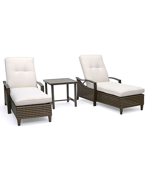 Furniture North Shore Outdoor 3-Pc. Chaise Set (2 Chaise Lounges & End Table) with Sunbrella® Cushions, Created For Macy's