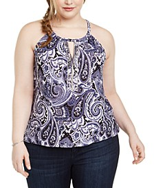INC Plus Size Printed Keyhole-Cutout Embellished Halter Top, Created For Macy's