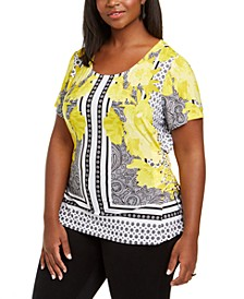 INC Plus Size Mixed-Print Top, Created for Macy's