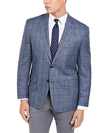 Men's Classic-Fit UltraFlex Stretch Light Blue Plaid Silk & Wool Sport Coat