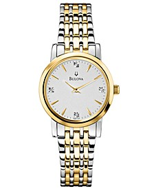 Women's Diamond Accent Two-Tone Stainless Steel Bracelet Watch 30mm 98P115