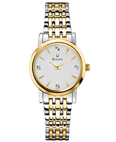 Bulova Women's Diamond Accent Two-Tone Stainless Steel Bracelet Watch 30mm 98P115