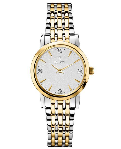 Bulova Women's Diamond Accent Two-Tone Stainless Steel Bracelet Watch 30mm 98P115