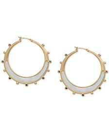 """Gold-Tone Medium Mother-of-Pearl Hoop Earrings, 1.88"""""""