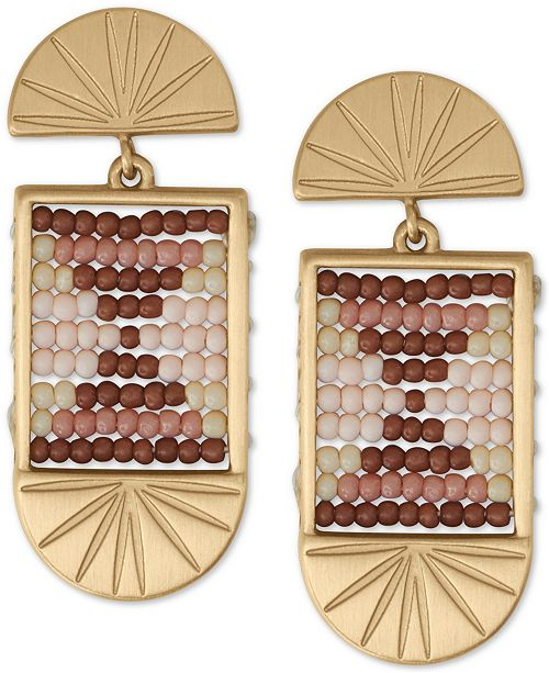 Lucky Brand Gold-Tone Beaded Statement Earrings