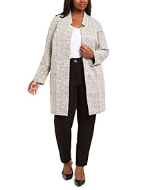 Plus Size Open-Front Jacquard Jacket, Created For Macy's