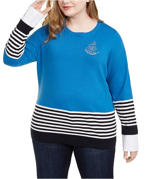Tommy Hilfiger Plus Size Cotton Striped Embellished Sweater, Created For Macy's