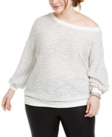 Trendy Plus Size Off-The-Shoulder Eyelash Sweater