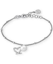Imitation Pearl (7mm) & Heart Charm Chain Bracelet in Sterling Silver
