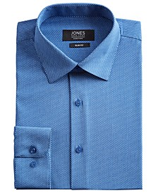 Men's Slim-Fit Performance Stretch Cooling Tech Blue/White Rectangle-Print Dress Shirt