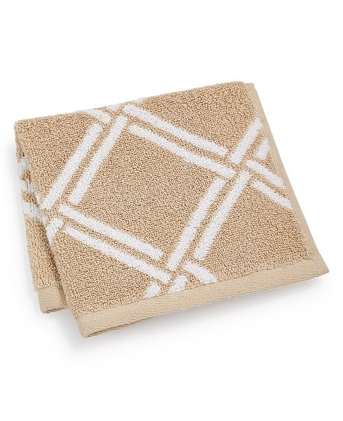 "Charter Club Elite Cotton Lattice 13"" x 13"" Wash Towel, Created for Macy's"