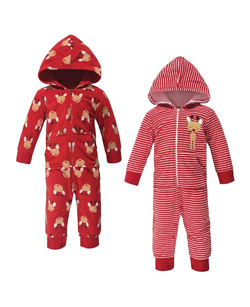 Hudson Baby Baby Boy and Girl Fleece Coveralls and Jumpsuits, Set of 2