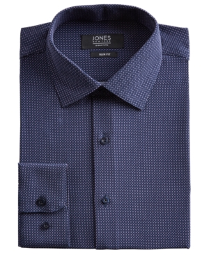 Men's Slim-Fit Performance Stretch Cooling Tech Navy/Lavender/White Diamond Dot-Print Dress Shirt