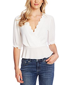Scalloped Faux-Wrap Top