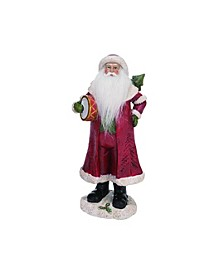 Resin Medium Red Christmas Soft Beard Traditional Santa Figurine