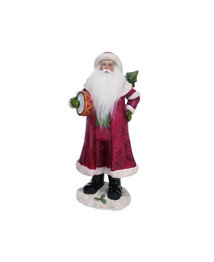 Trans Pac - Resin Medium Red Christmas Soft Beard Traditional Santa Figurine