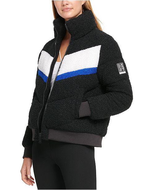 DKNY Sport Colorblocked Sherpa Puffer Jacket