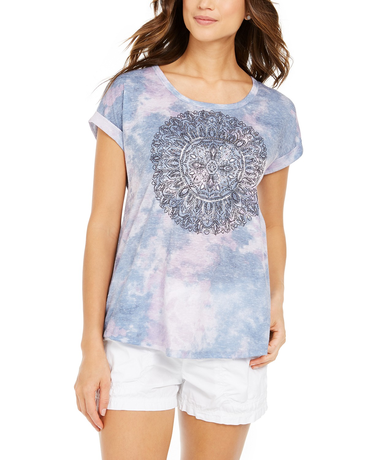 Style & Co Graphic Tie-Dye T-Shirt, Created for Macy's