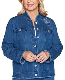 Pearls of Wisdom Embroidered Embellished Denim Jacket