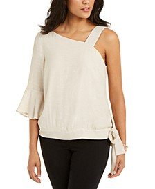 Gauze One-Shoulder Tie-Hem Top, Created for Macy's