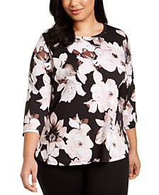 Plus Size Floral-Print Active T-Shirt