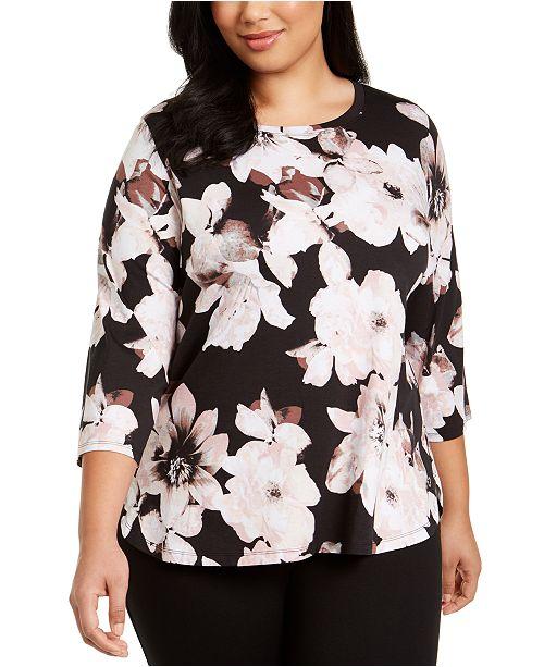 Calvin Klein Plus Size Floral-Print Active T-Shirt