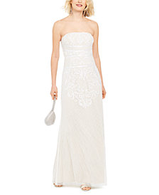 Adrianna Papell Beaded Strapless Gown