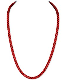 """Men's Box Link 22"""" Chain Necklace in Black Enamel over Stainless Steel (Also in Red & Blue Enamel), Created for Macy's"""