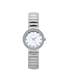 Ladies Genuine Diamond Collection Shiny Silver Watch, 28mm
