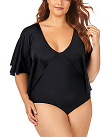 Raisins Curve Trendy Plus Size Juniors' Solid Stingray Flutter Sleeve One-Piece Swimsuit