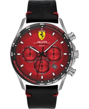 Men's Pilota Evo Men's Black Leather Strap Watch 44mm