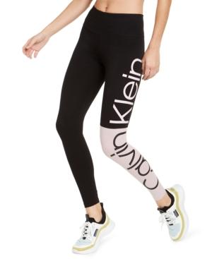 Calvin Klein Performance Colorblocked Logo High-waist Leggings In Secret Combo