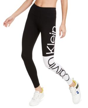 Calvin Klein Performance Colorblocked Logo High-waist Leggings In White Combo