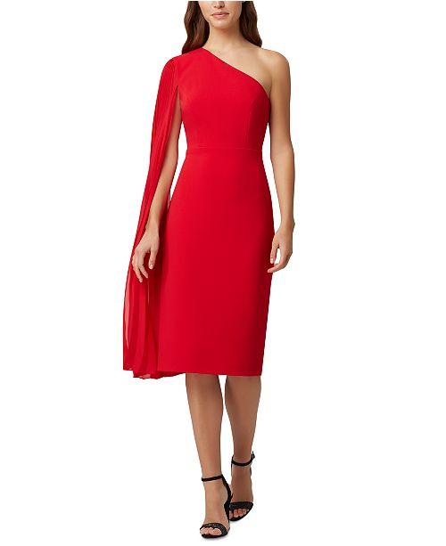 Tahari ASL One-Shoulder Draped Dress