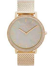 Womens Major Gold Tone Stainless Steel Mesh Bracelet Watch 35MM