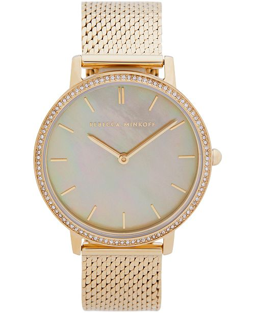 Rebecca Minkoff Womens Major Gold Tone Stainless Steel Mesh Bracelet Watch 35MM