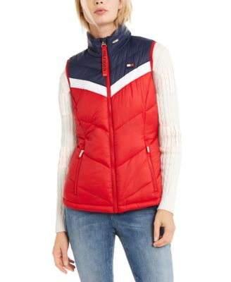 Colorblocked Zip-Up Puffer Vest