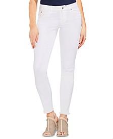 Petite Cotton Frayed-Hem Skinny Jeans