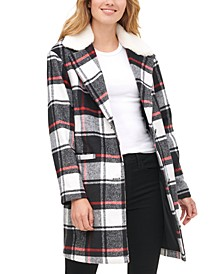 Women's Plaid Faux Fur Collar Jacket