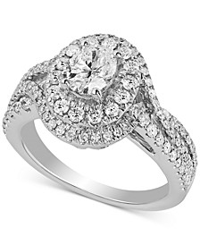 Diamond Oval Halo Engagement Ring (1-1/2 ct. t.w.) in 14k White Gold