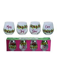 White Christmas Poinsettia Wine Glasses - Set of 4