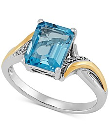 Swiss Blue Topaz Two-Tone Ring (2-7/8 ct. t.w.) in Sterling Silver & 10k Gold