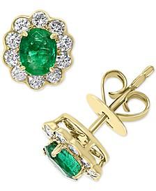 EFFY® Emerald (5/8 ct. t.w.) & Diamond (3/8 ct. t.w.) Flower Stud Earrings in 14k Gold