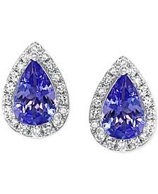 Tanzanite (3/4 ct. t.w.) & Diamond (1/10 ct. t.w.) Stud Earrings in 14k White Gold